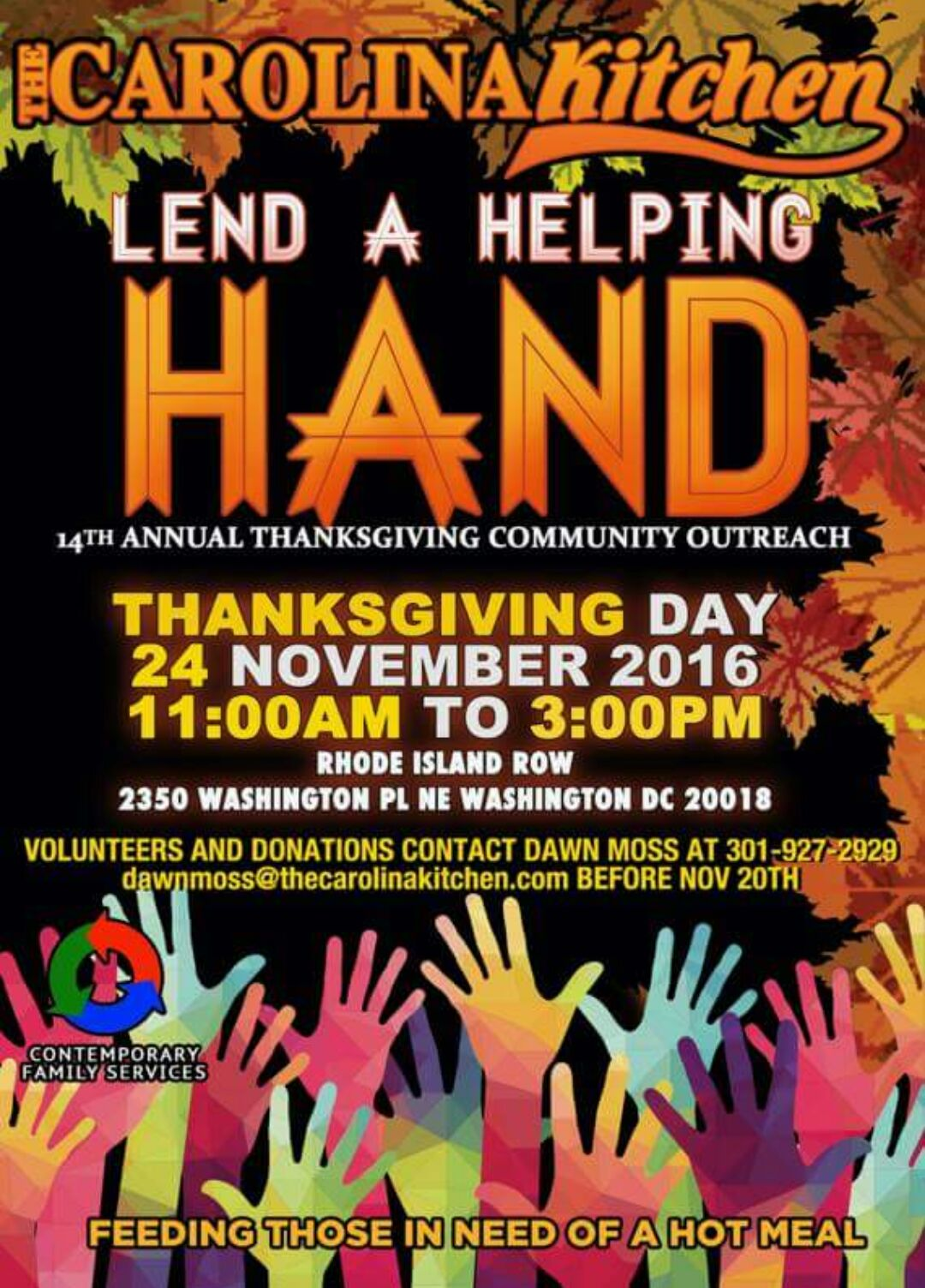 14th annual thanksgiving community outreach at carolina kitchen